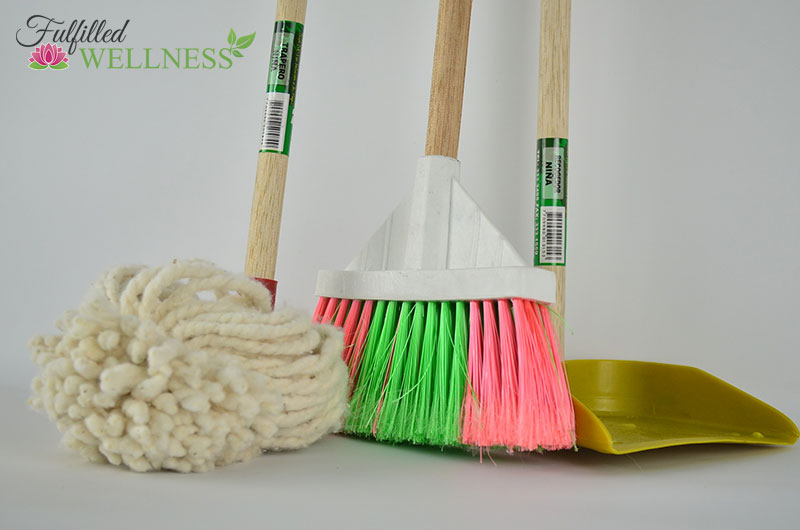 Mop, broom and dust pan