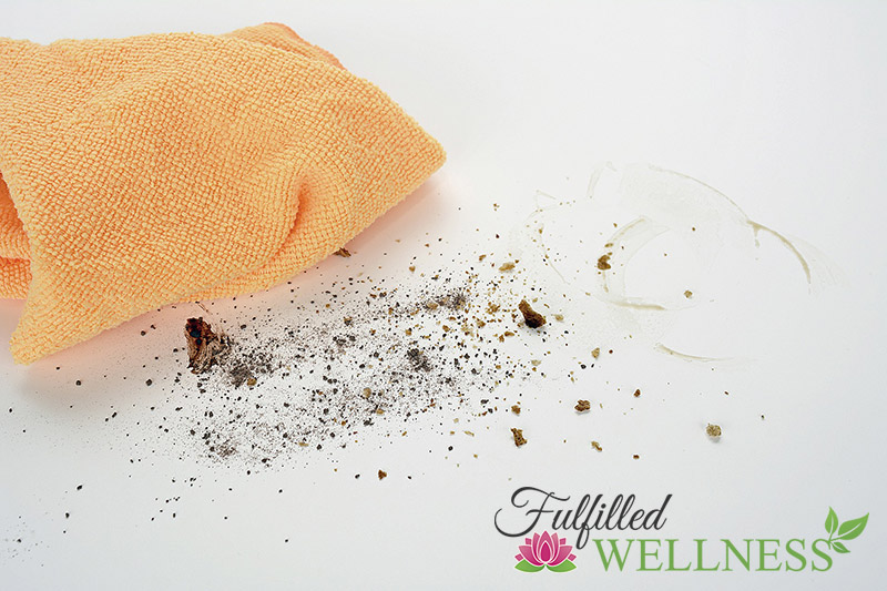 Microfiber cloth with dirty surface