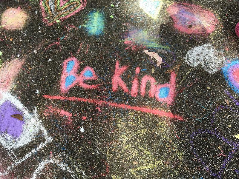 """""""Be Kind"""" in chalk written in chalk"""