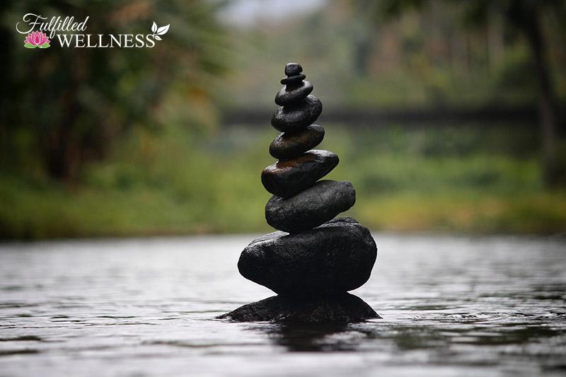 Rocks balanced in water